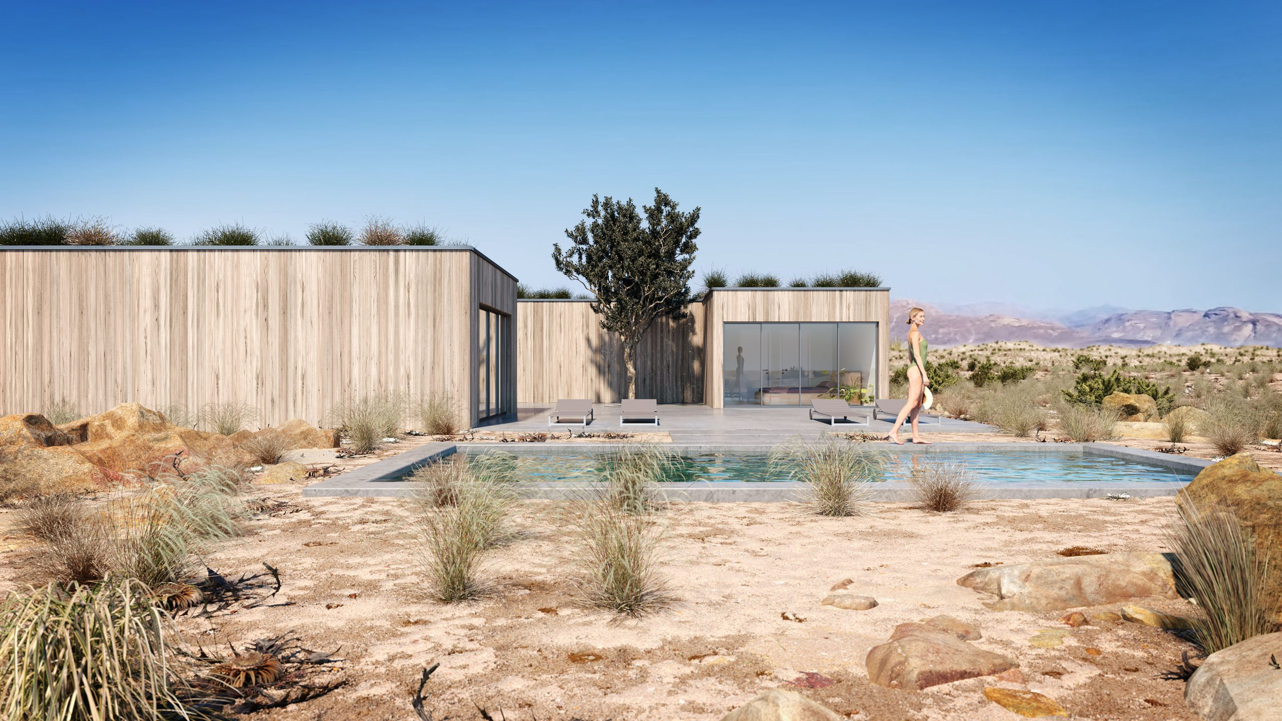 desert house, exterior architecture, desert retreat